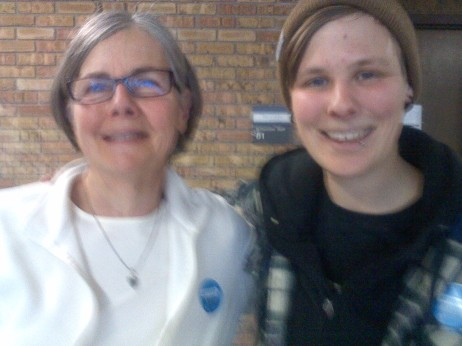 Selfie with Duluth Clean Energy Team volunteer leader Ann at the Climate Town Hall.