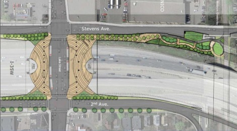 Proposed pedestrian/bicycle connection between the Midtown Greenway and East Lake Street. Credit: UrbanMSP
