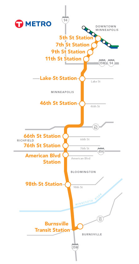Planned METRO Orange Line BRT route. Credit: Metro Transit