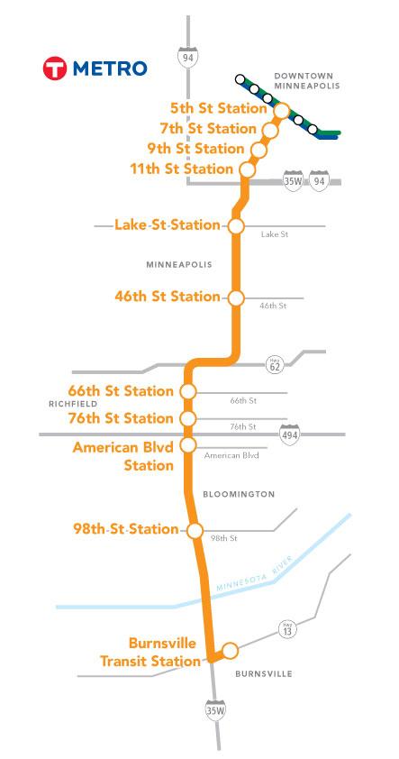 Planned METRO Orange Line BRT route. Credit: Metro Transit