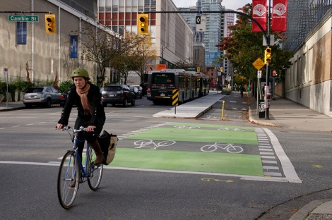 Separated bike lane in Vancouver. Photo Credit: Paul Krueger (License)