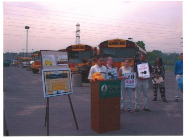 photo: 2002 Press Conference announcing Cleaner Bus School Awards