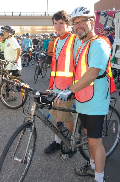 Ben and Frank Jossi, volunteer bike monitors.