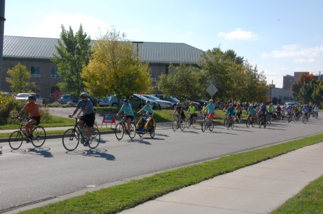 Riders set off from the Greenway Building in south Minneapolis.